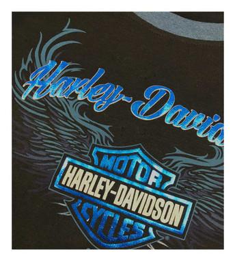 Harley-Davidson Women's Winged B&S Long Sleeve Raglan Shirt w/ Thumbholes, Black - Wisconsin Harley-Davidson