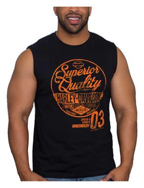 Harley-Davidson Mens Worn Superior Quality Sleeveless Cotton Muscle Shirt, Black - Wisconsin Harley-Davidson