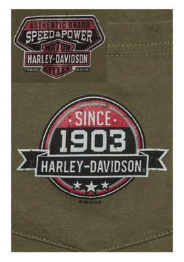 Harley-Davidson Men's Glory Days 1903 Chest Pocket Short Sleeve T-Shirt, Green - Wisconsin Harley-Davidson