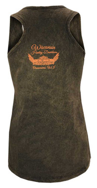 Harley-Davidson Women's Embellished Script Sleeveless Tank Top, Rust Black - Wisconsin Harley-Davidson