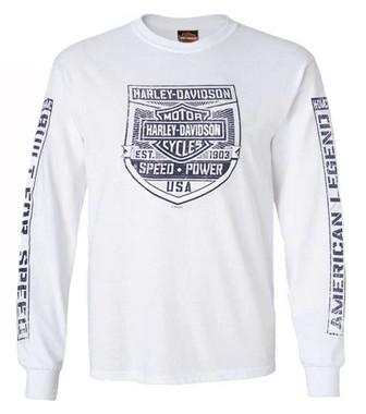 Harley-Davidson Mens Built For Speed Long Sleeve Crew-Neck Cotton T-Shirt, White - Wisconsin Harley-Davidson