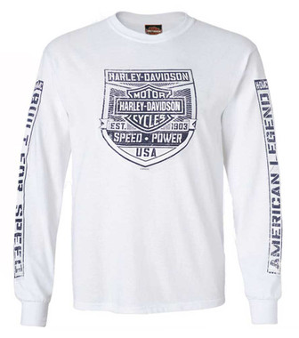 Harley-Davidson Mens Built For Speed Long Sleeve Crew-Neck Cotton T-Shirt, White - Wisconsin Harley-Davidson