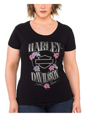 Harley-Davidson Women's Roses & Logo Short Sleeve Round Neck Cotton Tee, Black - Wisconsin Harley-Davidson