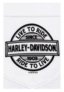 Harley-Davidson Men's Live To Ride Chest Pocket Short Sleeve T-Shirt, White - Wisconsin Harley-Davidson