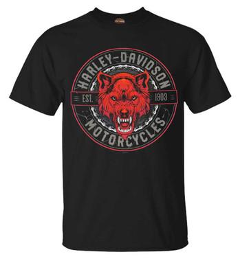Harley-Davidson Men's Wolf Pack Chain Short Sleeve Crew-Neck Cotton Tee, Black - Wisconsin Harley-Davidson