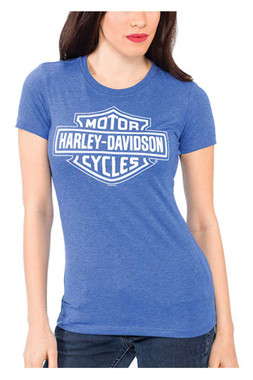 Harley-Davidson Women's Bar & Shield Logo Crew-Neck Short Sleeve Tee, Blue - Wisconsin Harley-Davidson