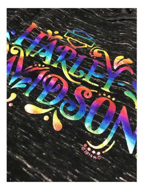 Harley-Davidson Women's Rainbow Foiled Sleeveless Tank Top, Black Marble - Wisconsin Harley-Davidson