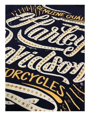 Harley-Davidson Women's Embellished Script Sleeveless Full Back Tank Top, Blue - Wisconsin Harley-Davidson