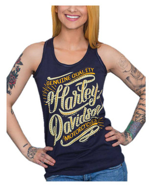 Harley-Davidson Women's Embellished Script Sleeveless Full Back Tank Top, Blue - Wisconsin Harley-Davidson