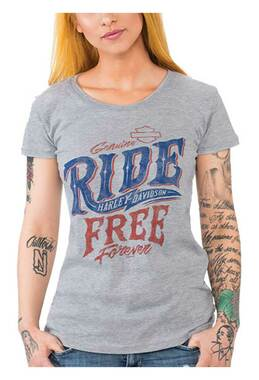 Harley-Davidson Women's Ride Free Round Neck Short Sleeve T-Shirt, Heather Gray - Wisconsin Harley-Davidson