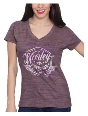 Harley-Davidson Womens Distressed Flames V-Neck Short Sleeve Tee, Heather Purple - Wisconsin Harley-Davidson