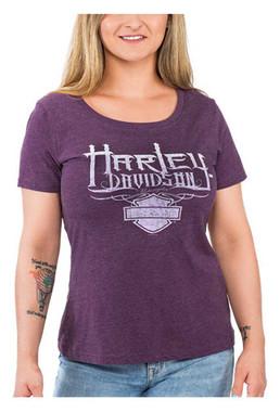 Harley-Davidson Women's Supreme Scoop Neck Short Sleeve Poly-Blend Tee, Purple - Wisconsin Harley-Davidson
