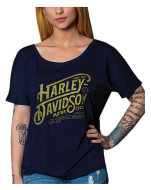 Harley-Davidson Women's Metallic Script Short Sleeve Slouchy Tee, Navy Blue - Wisconsin Harley-Davidson
