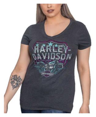 Harley-Davidson Women's Embellished Shield V-Neck Short Sleeve Tee, Charcoal - Wisconsin Harley-Davidson