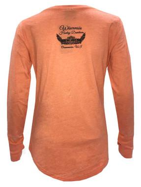 Harley-Davidson Women's Foiled Script Long Sleeve Scoop Neck Shirt, Orange - Wisconsin Harley-Davidson