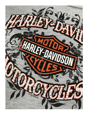 Harley-Davidson Women's Embellished Script Pullover Raglan Sweatshirt, Gray - Wisconsin Harley-Davidson