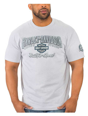 Harley-Davidson Men's Speed Bump Crew-Neck Short Sleeve Cotton T-Shirt, Silver - Wisconsin Harley-Davidson