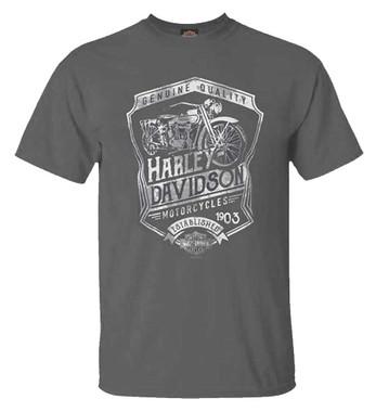 Harley-Davidson Men's Distressed Shield Crew-Neck Short Sleeve T-Shirt, Charcoal - Wisconsin Harley-Davidson