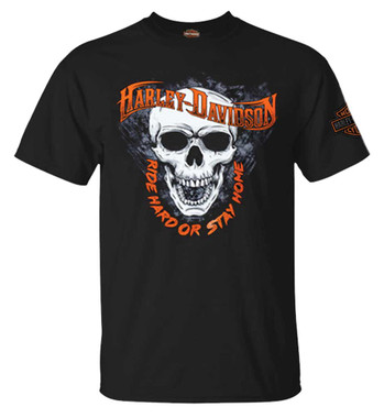 Harley-Davidson Men's Ride Hard Skull Short Sleeve Crew-Neck Cotton Tee, Black - Wisconsin Harley-Davidson