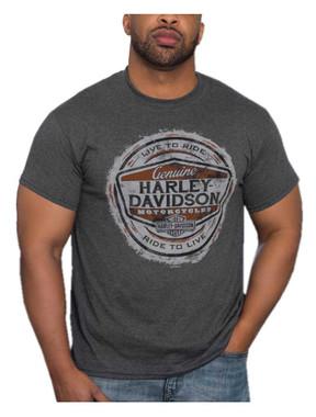 Harley-Davidson Men's Distressed H-D Seal Poly-Blend Short Sleeve T-Shirt, Gray - Wisconsin Harley-Davidson