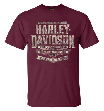 Harley-Davidson Men's Bold H-D Crew-Neck Short Sleeve Cotton T-Shirt, Maroon - Wisconsin Harley-Davidson