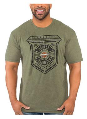 Harley-Davidson Men's Distressed Shield Soft Blend Short Sleeve T-Shirt, Green - Wisconsin Harley-Davidson