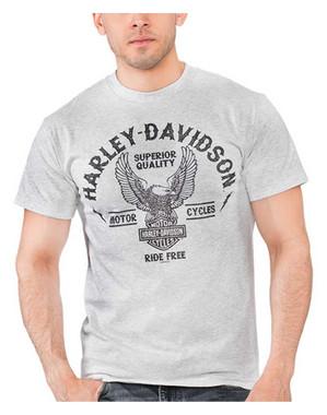 Harley-Davidson Men's Up-Winged Eagle H-D Poly-Blend Short Sleeve T-Shirt, Gray - Wisconsin Harley-Davidson