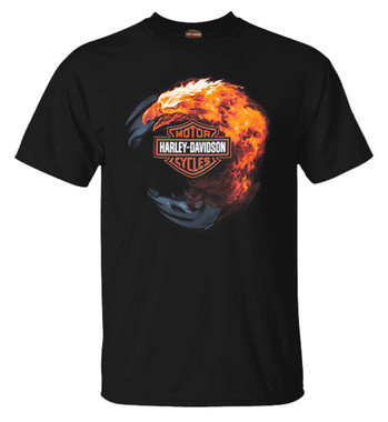 Harley-Davidson Men's Fiery Eagle Bar & Shield Crew-Neck Cotton T-Shirt, Black - Wisconsin Harley-Davidson