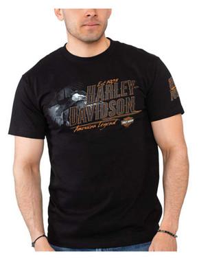 Harley-Davidson Men's Eagle Survivor Crew-Neck Cotton Short Sleeve Tee, Black - Wisconsin Harley-Davidson