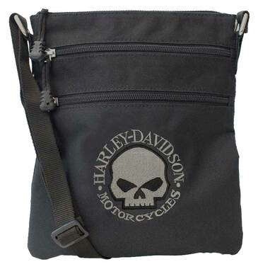 Harley-Davidson Embroidered Willie G Skull Crossbody Purse w/ Adjustable Strap - Wisconsin Harley-Davidson