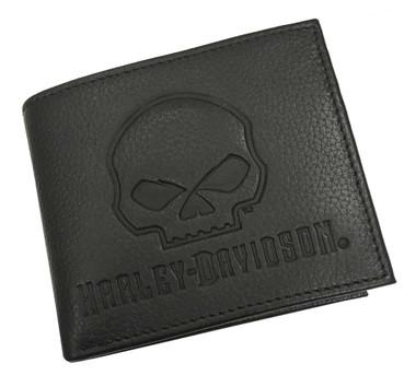 Harley-Davidson Men's Willie G Skull Embossed Leather Pocketed Billfold Wallet - Wisconsin Harley-Davidson