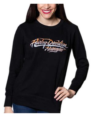 Harley-Davidson Women's Chrome Script Pullover Fleece Sweatshirt - Black - Wisconsin Harley-Davidson