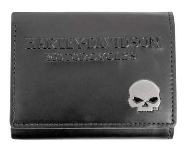 Harley-Davidson Men's Willie G Skull Medallion Leather Tri-Fold Wallet - Black - Wisconsin Harley-Davidson
