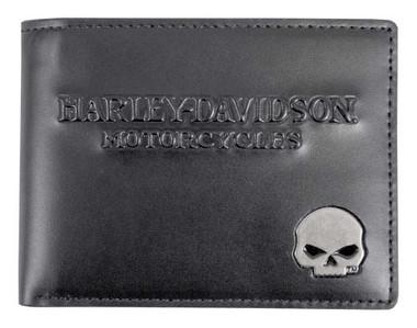 Harley-Davidson Men's Skull Medallion Leather Billfold w/ Removable ID - Black - Wisconsin Harley-Davidson
