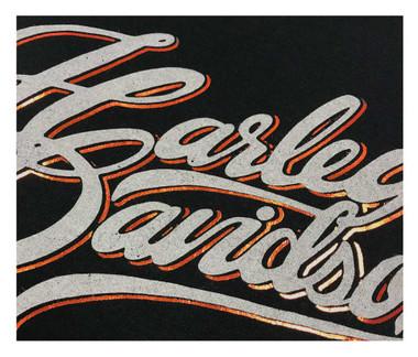Harley-Davidson Women's Metallic Foil H-D Pullover Poly-Blend Hoodie, Black - Wisconsin Harley-Davidson