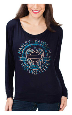 Harley-Davidson Women's Painted Embellished Wings Long Sleeve Shirt, Dark Blue - Wisconsin Harley-Davidson