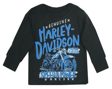 Harley-Davidson Little Boys' Speed & Power Long Sleeve Toddler Shirt, Black - Wisconsin Harley-Davidson
