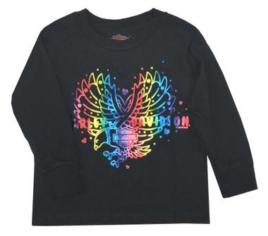 Harley-Davidson Little Girl's Rainbow Foil Long Sleeve Toddler Shirt, Black - Wisconsin Harley-Davidson