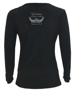 Harley-Davidson Women's Legendary #1 Wide Neck Long Sleeve Cotton Shirt, Black - Wisconsin Harley-Davidson