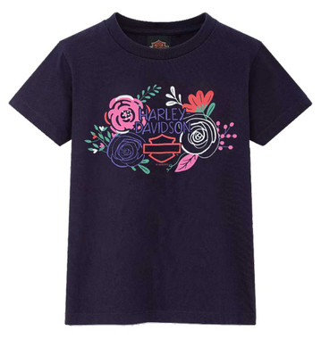 Harley-Davidson Little Girl's Floral Cute Short Sleeve Toddler T-Shirt - Purple - Wisconsin Harley-Davidson