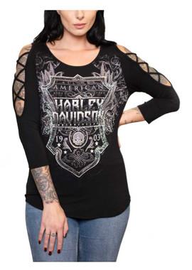 Harley-Davidson Women's Stones Soul Shield 3/4 Sleeve Scoop Neck Top - Black - Wisconsin Harley-Davidson