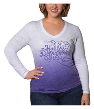 Harley-Davidson Women's Swirl Script Long Sleeve V-Neck Shirt - Purple Ombre - Wisconsin Harley-Davidson