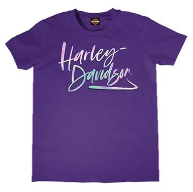 Harley-Davidson Girl's Script Short Sleeve T-Shirt, Toddler & Youth, Purple - Wisconsin Harley-Davidson
