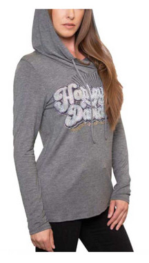 Harley-Davidson Women's Embellished Groovy Text Long Sleeve Hooded T-Shirt, Gray - Wisconsin Harley-Davidson