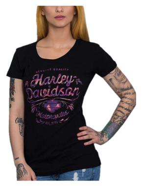 Harley-Davidson Women's Wild & Bright Round Neck Short Sleeve Cotton Tee, Black - Wisconsin Harley-Davidson