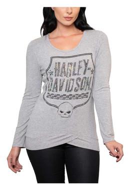 Harley-Davidson Women's Embellished Script Long Sleeve Scoop Neck Shirt, Gray - Wisconsin Harley-Davidson