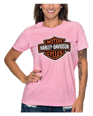 Harley-Davidson Women's Bar & Shield Logo Crew-Neck Short Sleeve T-Shirt, Pink - Wisconsin Harley-Davidson