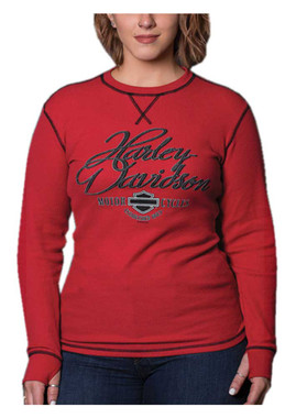 Harley-Davidson Women's Rhythm Long Sleeve Thermal Tee w/ Thumbholes - Red - Wisconsin Harley-Davidson