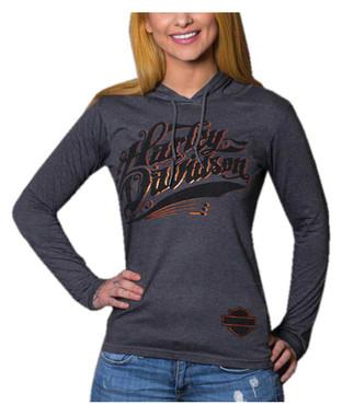 Harley-Davidson Women's Metallic Foil H-D Long Sleeve Hooded Shirt, Heather Gray - Wisconsin Harley-Davidson