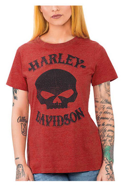 Harley-Davidson Women's Embellished Willie G Skull Crew-Neck Short Sleeve Tee - Wisconsin Harley-Davidson